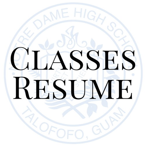 classes resume notre dame high school inc ndhs guam