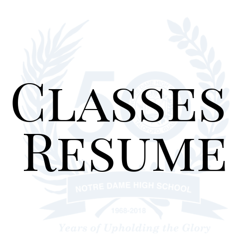 Classes Resume 3rd Quarter Begins Notre Dame High School Inc